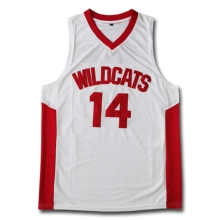 14 Zac Efron Troy Bolton East High School Wildcats white red Retro Basketball Jersey Men's Stitched Jerseys