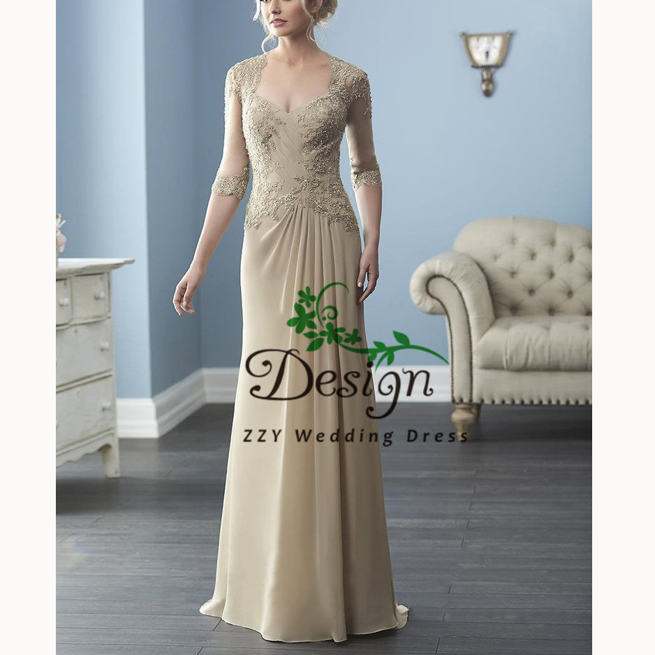 Khaki 3/4 Sleeves Scoop Sheath Lace And Chiffon Pleat Women's Dresses Vintage Plus Size Mother Of The Bride Dresses With Train