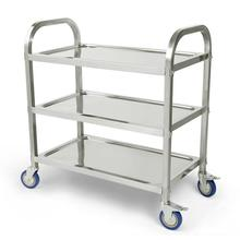 Stainless Steel Moveable Kitchen Islands Rolling Top Drop Leaf Storage Trolley Cart Three-layer Kitchen Trolley Shelf Rack HWC