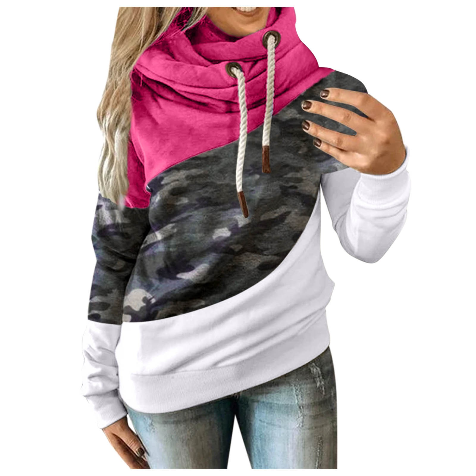 Hot Sale Women Casual Solid Contrast Long Sleeve Hoodie Sweatshirt Patchwork Printed Tops Sudaderas Mujer 2020 F Fast Ship 7
