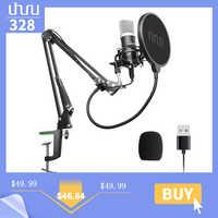Micrófono condensador con Podcast USB UHURU de 192kHZ/24 bits, Kit profesional de micrófono cardioide de Streaming para ordenador portátil de Youtube, Karaoke