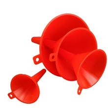4 PCS Red Plastic Multi-Purpose Anti-leakage Funnel Portable Fuel Oil Car Home Funnel