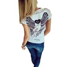 Summer Thin Fashion Shirt Female T-shirt Vest Angel Wings T-shirt Top Casual Women's Lace Short-sleeved Shirt T-shirt Clothing
