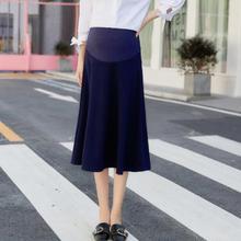 Юбки для беременных, Одежда для беременных, расклешенная, эластичная, поддерживающая живот, миди юбка с высокой талией, трикотажная юбка для женщин