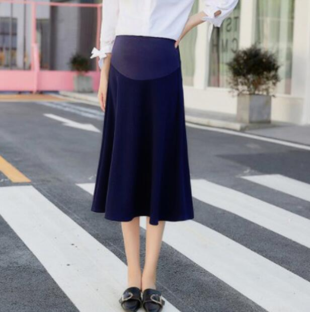 Maternity Skirts Pregnancy Clothes Flared Stretchy Belly Support  Midi Skirt High Waist Jersey Skirt For Women