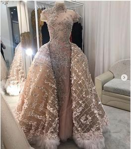 Image 5 - Robe De mariée Champagne, à fleurs 3D, style sirène, robe De mariée avec plumes détachables, avec perles détachables