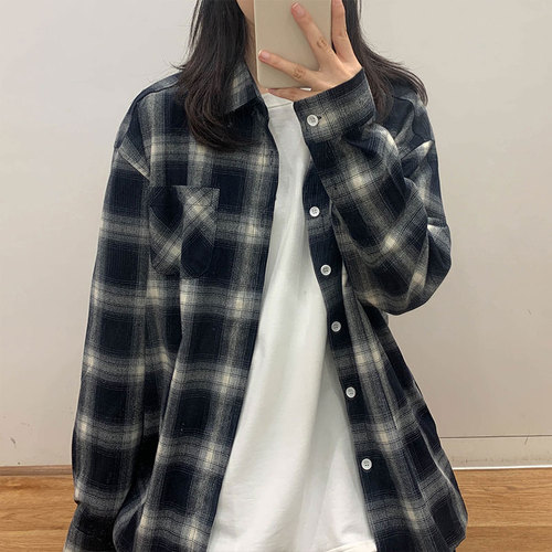 Casual Loose Fashion Basic Classic Plaid Button Line Turn Down Collar 2019 Winter Cotton New Arrival Regular Long Sleeve Shirts