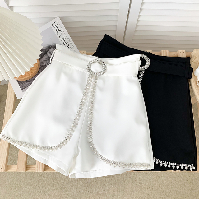 Ashgaily 2021 New Women's Shorts Diamond bow Shorts Slim Wide Leg A-line Sexy Shorts Summer Fashion 1