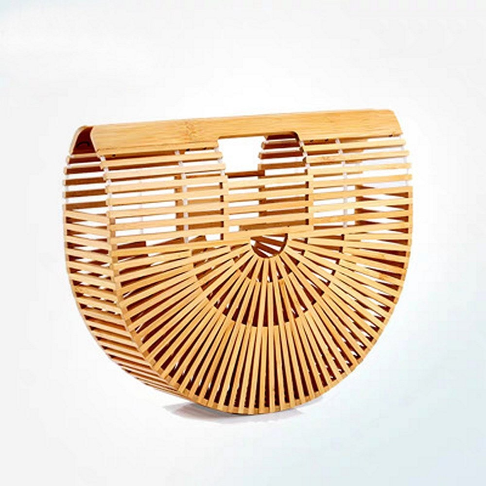Handbag Bamboo Knitting Bag Hollow Out Handmade Women Handbag Fashion Square Summer Beach Bag Women Wood Bag WomenTop-handle Bag