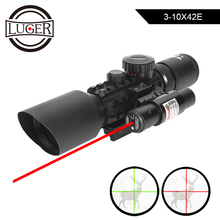 LUGER M9 3 10x42EG ยุทธวิธีเลนส์ Reflex Sight Riflescope Picatinny Weaver Mount สีแดงสีเขียว Dot ขอบเขตการล่าสัตว์สีแดงเลเซอร์
