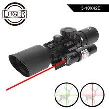 LUGER M9 3 10x42EG Tattico Ottica Reflex Sight Mirino Picatinny Del Tessitore Mount Verde Rossa di vista del Puntino di Caccia Scopes Con Laser Rosso