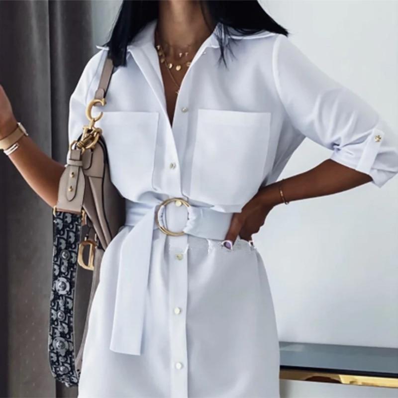 Women Vintage Front Pockets Sashes A-line Dress Three Quarter Sleeve Turn Down Collar Solid Elegant Dress 2020 Autumn Dress