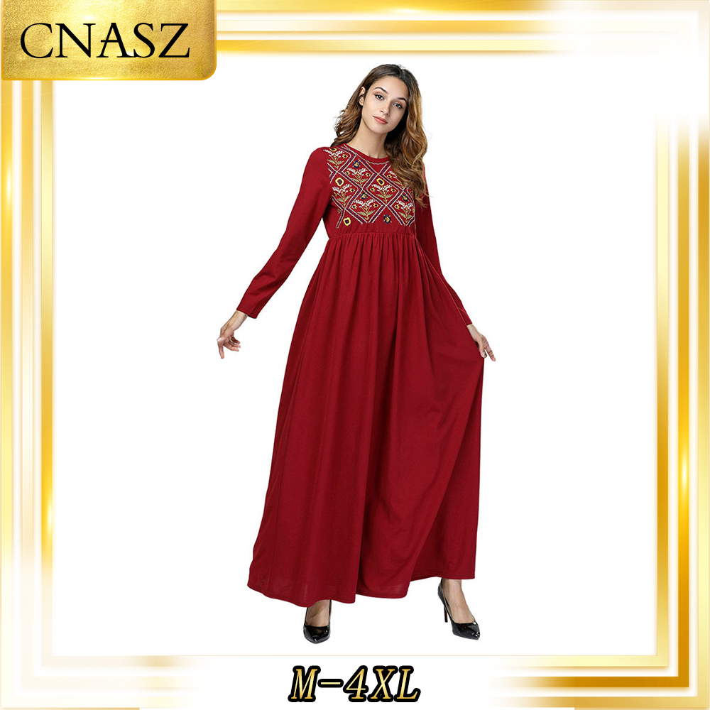 AbayaTurkish Gown Fashion Simple Embroidered Autumn Dress Muslim Robes Loose Long Skirt
