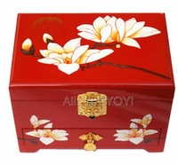 Chinese 3 Layer Wood Storage Wedding Flower Jewelry Box with Mirror Bangle Jewellery Display Box Container Carrying Case Gift