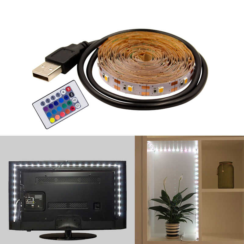 Fleksibel 5 V USB LED Strip 0.5 M 1 M 2 M 3 M 5 M Pita LED Lampu Latar Televisi TV Lampu RGB Hangat Putih Addressable Neon LED Strip