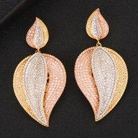 GODKI Jimbora Gorgeous Shiny Big Leaf Pendant Earrings for Women Wedding Earrings Daily Fashion Jewelry Top Cubic Zirconia