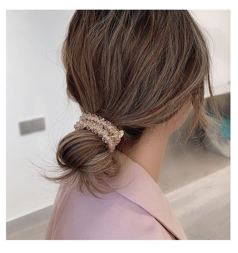 Crystal Rubber Band Female Tie Head Rope Simple Hair Rope Hair Ring Korean Cute Headdress Hair Accessories G0130