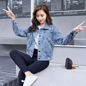 Korean Version of the 2020 Jeans Coat qiu dong kuan Female New Short Loose Thin Wild Harajuku Wind Top Fashion