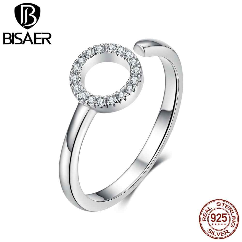 Bisaer 925 real prata minimalismo simples círculo anéis para as mulheres na moda anel redondo anel anel anel anel anel de casamento festa bijoux gxr545