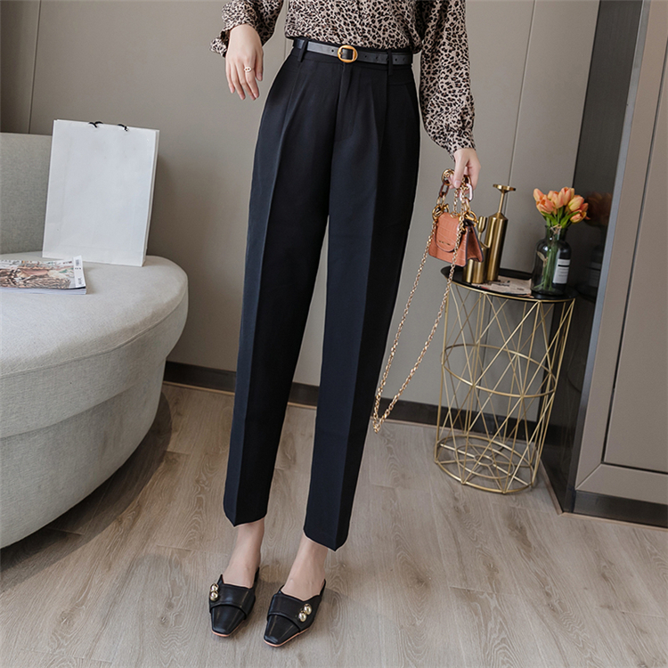 H0b9bfe5bb65f4ebd89525bf0da6c6a78u - Colorfaith New Spring Winter Women Pants High Waist Loose Formal Elegant Office Lady Ankle-Length With Belt Pants P7223