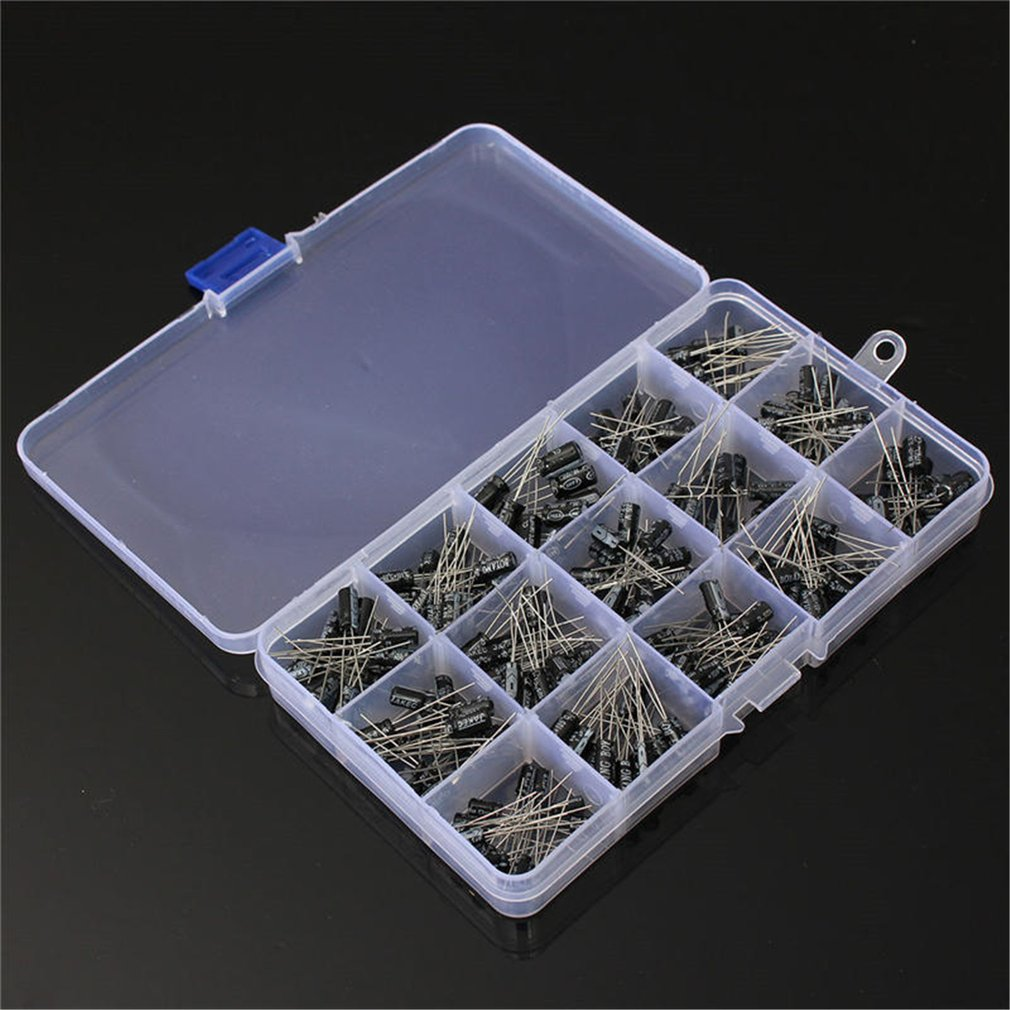 High Quality 15values 200pcs Electrolytic Capacitor Organization Storage 0.1μF-220μF Capacitors Assortment Box Kit