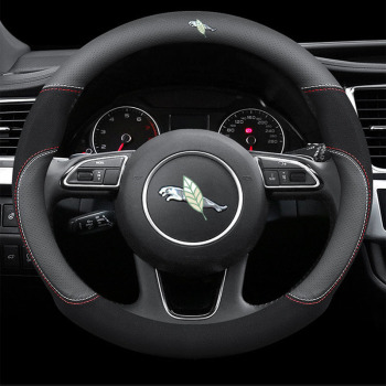 hexinyan custom car floor mats for jaguar all models xel xf xe f pace xjl f type xk xfl car accessories auto styling Genuine Leather Car Steering Wheel Cover 15 inch/38cm for Jaguar F-Pace F-Type X-Type I-PACE XF XJ XE XK