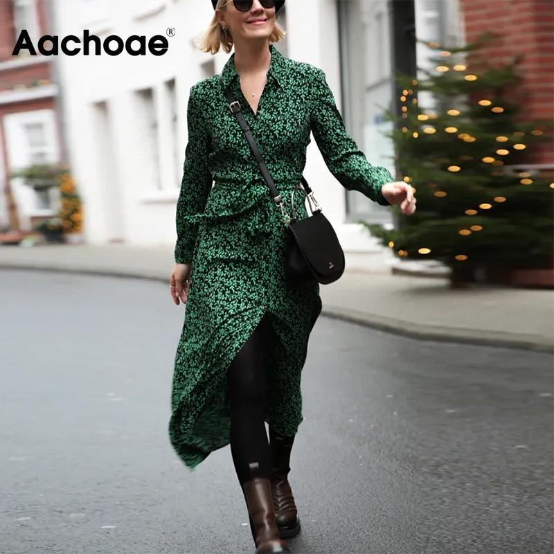 Aachoae Women Print Long Shirt Dress With Belt Long Sleeve Turn Down Collar Office Dresses Floral Printed Long Dress Vestidos