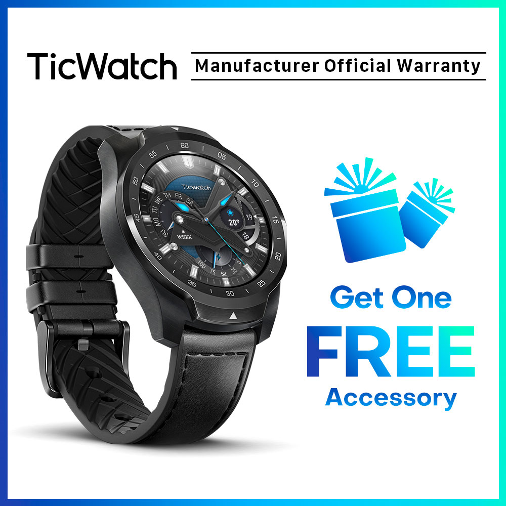 TicWatch Pro argent montre intelligente affichage en couches montre Bluetooth avec GPS paiement NFC IP68 Google Play Original