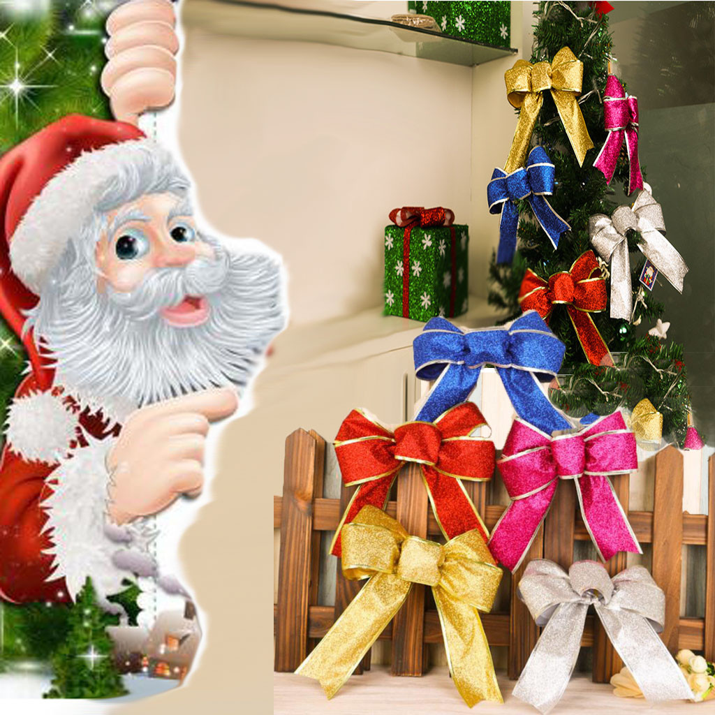 New Home Ornament 2020.Us 1 06 30 Off 5 Colors Christmas Bows Christmas Tree Decoration Ribbon Bows Noel 2020 New Year Xmas Christmas Decoration For Home Ornaments On