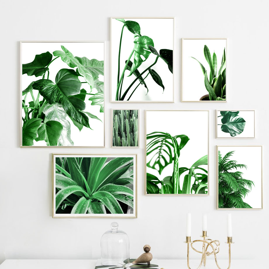 Wall Art Canvas Painting Monstera Cactus Green Tropical Plant Leaves Nordic Posters And Prints Wall Pictures For Living Room