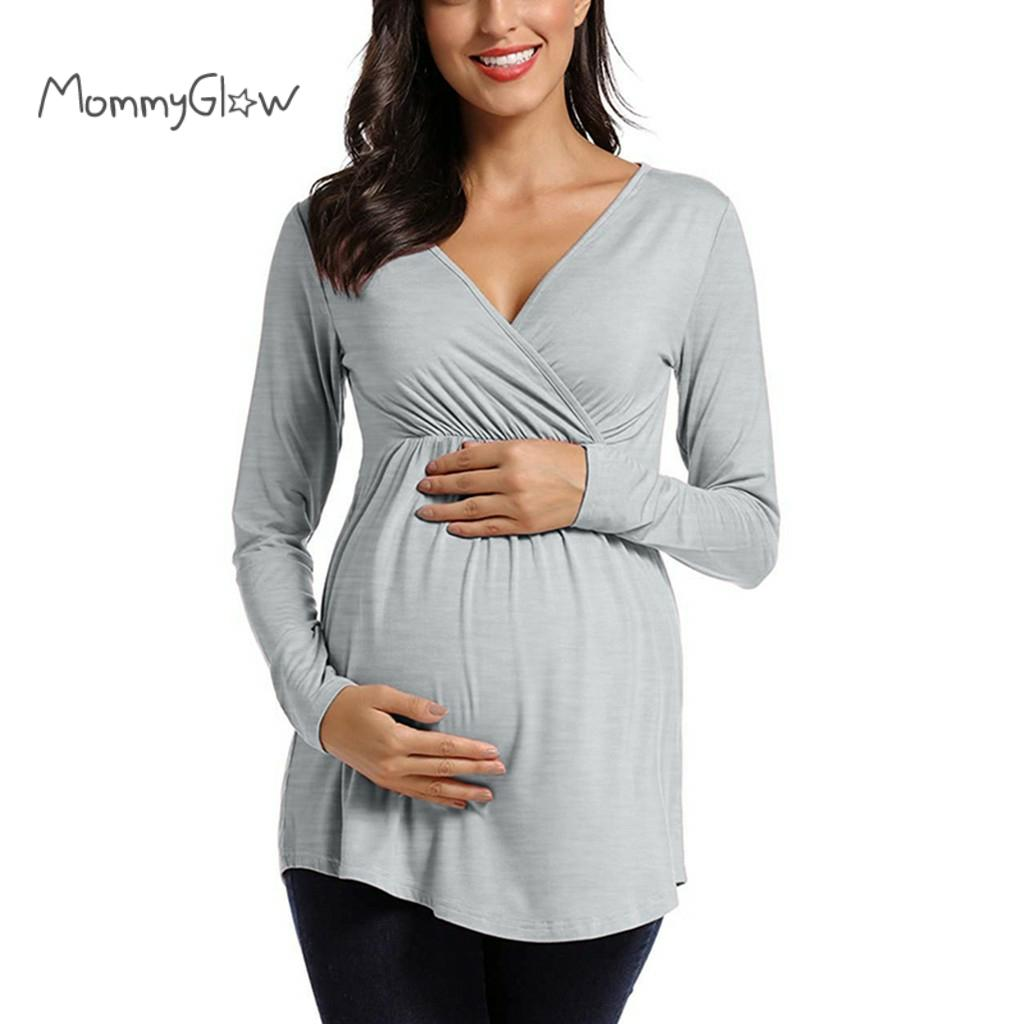 Maternity Women Breastfeeding Blouse Tops Long Sleeve Solid Nursing Shirt Maternity Blouses Pregnancy Clothes For Pregnant Women Tees Aliexpress