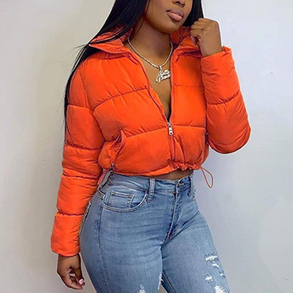 Осенне-зимние женские короткие куртки, теплое пузырьковое пальто, пуховая парка, пальто, куртка на молнии, оранжевая Милая укороченная парк...