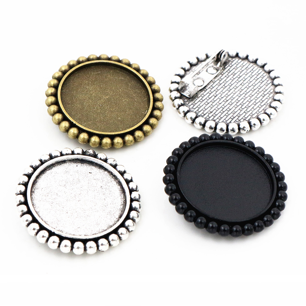 New Fashion  2pcs 25mm Inner Size Antique Silver Plated And Bronze And Black Brooch Sweet Style Cabochon Base Setting
