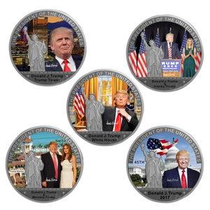 Президент США Дональд Трамп позолоченная/Посеребренная памятная монета Новинка копия вызов монета в подарочной коробке набор коллекционн...