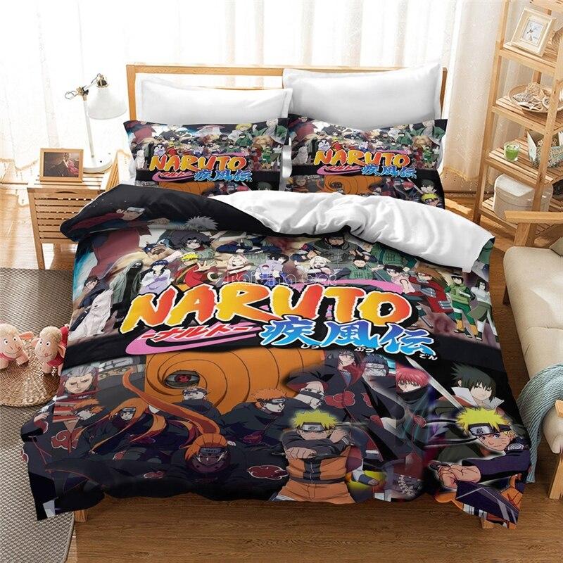 Anime 3D Naruto Uzumaki Naruto Printed Bedding Set King Duvet Cover Pillow Case Comforter Cover Adult Kids Bedclothes Bed Linens