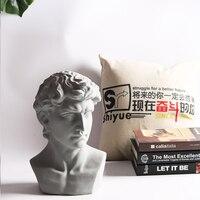 European Ceramic David Plaster Portrait Sculpture Figurines Decoration Home Livingroom Table Furnishing Crafts Hotel Ornaments