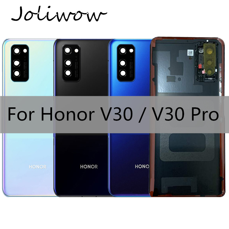 For Huawei Honor V30 Back Glass Battery Cover Rear Door Housing Case With Camera Lens For Honor V30 PRO Battery Cover+Adhesive