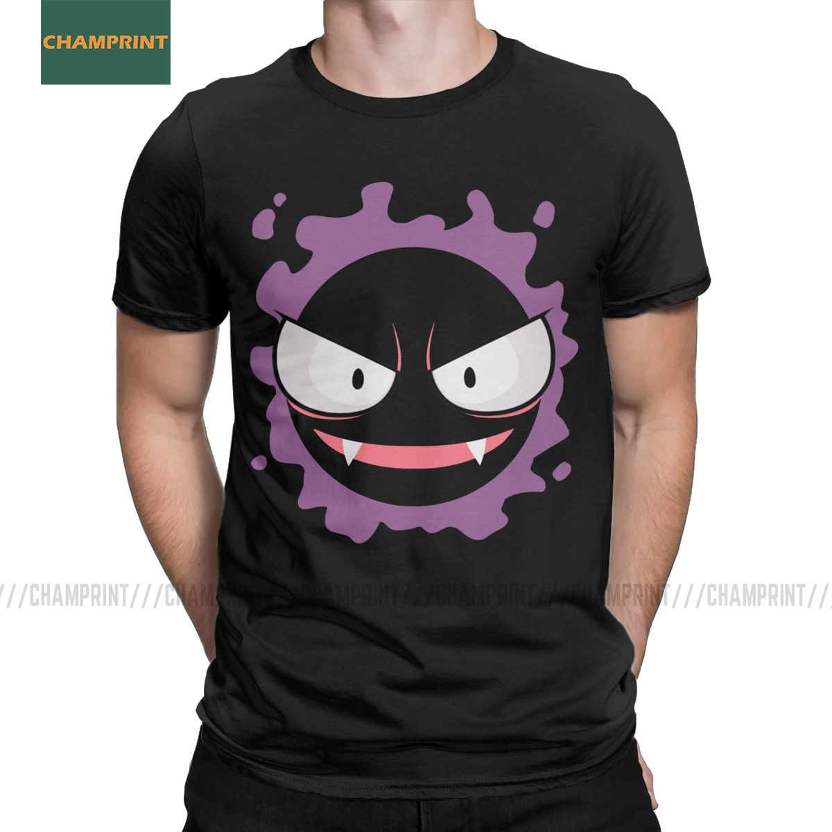 Men T-Shirt Gastly Gengar Novelty Cotton Tees Short Sleeve Kaiju Japan Pokemon Pocket Monster Cartoon Anime T Shirt Round Collar
