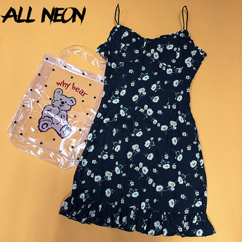 ALLNeon Sweet Spaghetti Strap Floral Dresses Fashion Sleeveless A-line Ruffle Hem Mini Dress Vintage Egirl Party Summer Vestidos cartoon goose print ruffle hem cami dress