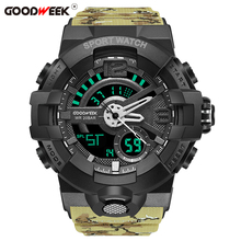 GOODWEEK Men Sport Watch Camouflage S Shock Military Watches Waterproof Multi-functional Dual Display Relogio Masculino