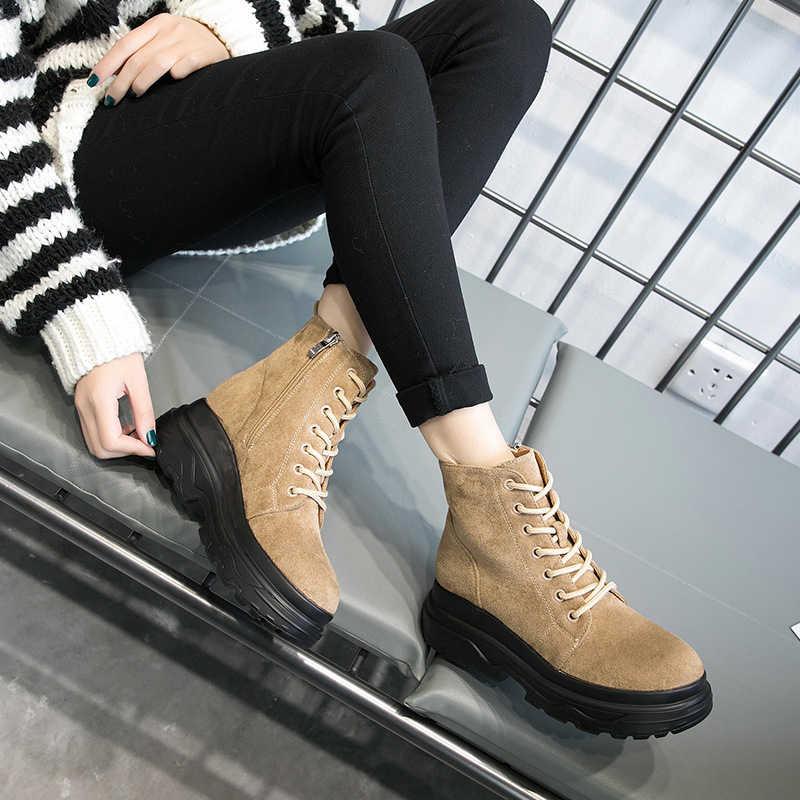 SONDR botas mujer invierno 2020 platformu yüksek topuk kama kış yarım çizmeler kadınlar için kısa peluş yuvarlak ayak fermuar bota feminina