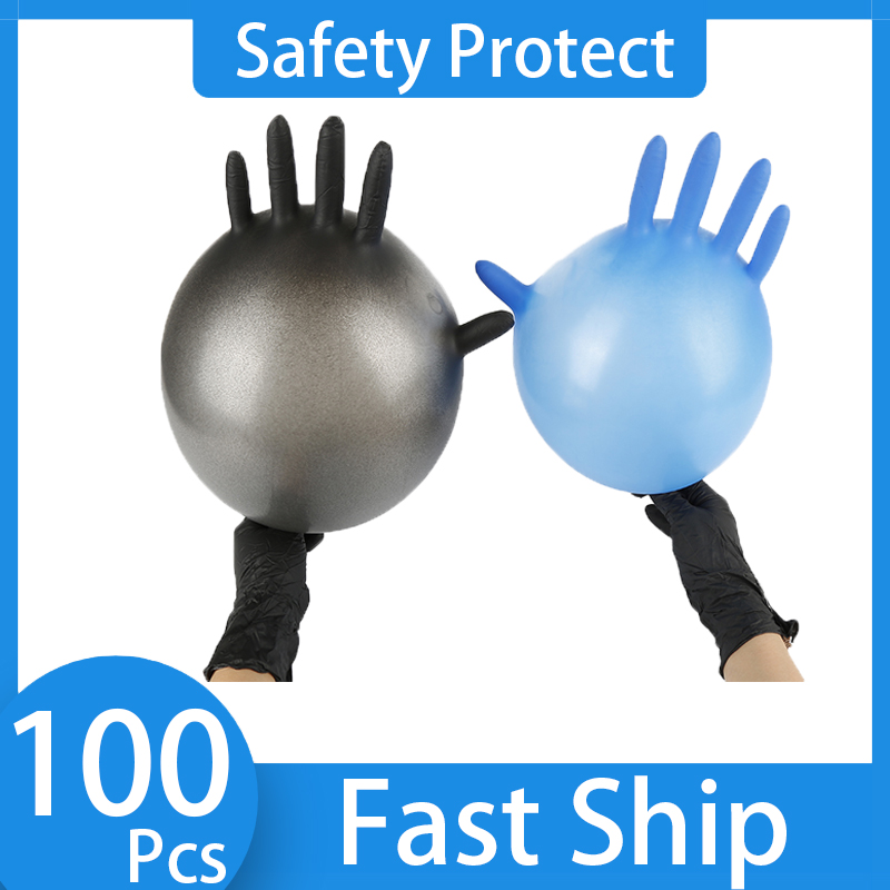 Universal Latex Nitrile Gloves 100 Pcs Black/Blue S/M/L/XL Home Cleaning /Food/Rubber/Garden Gloves Left Right Disposable Gloves