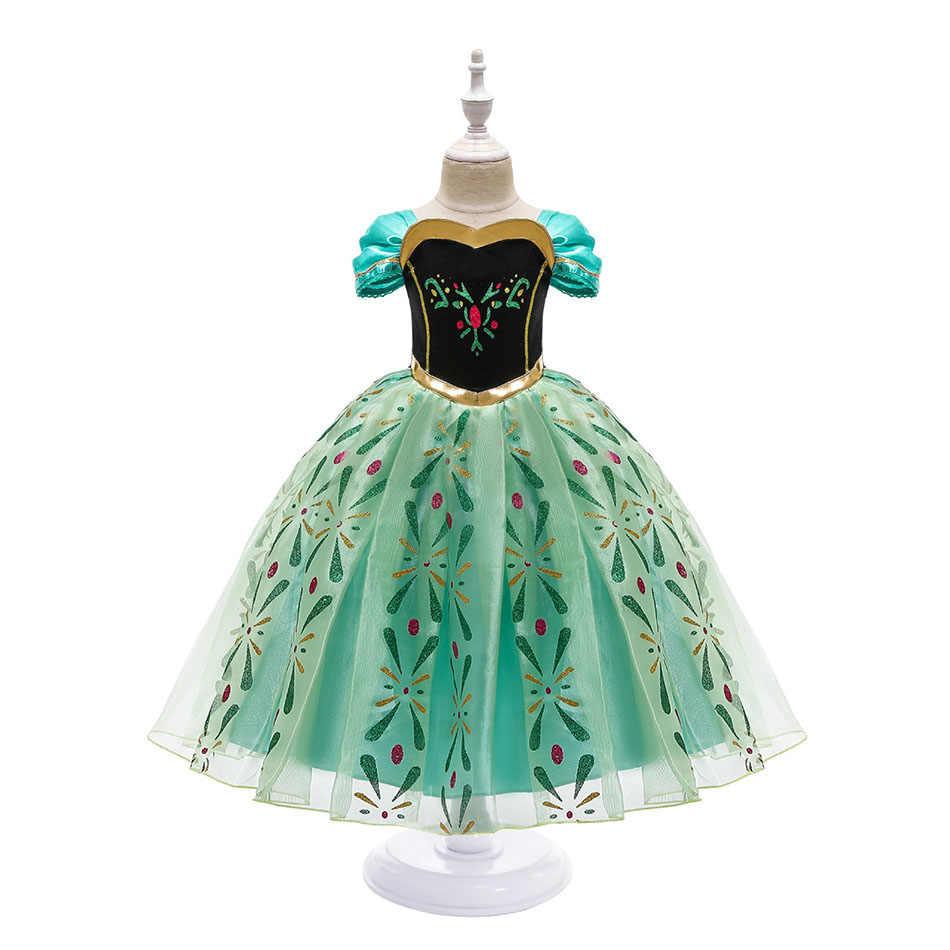 Anna elbise kız Cosplay kar kraliçe prenses kostüm çocuklar cadılar bayramı giysi çocuk doğum günü karnaval fantezi Disguise ve peruk