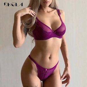 Image 1 - New Sexy Bra Panties Set Purple Lace Brassiere Transparent Underwear Set Ultrathin B C D Cup Women Bras Lingerie Set Embroidery