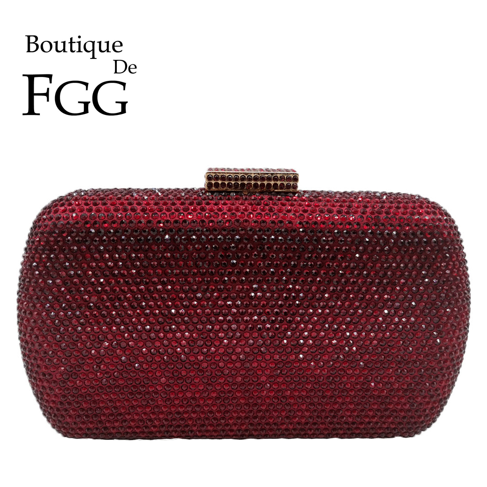 Boutique De FGG Wine Red Women Crystal Evening Bags Wedding Metal Clutches Party Cocktail Purse And Handbag