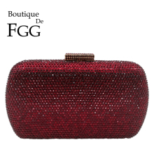 Boutique De FGG Wine Red Women Crystal Evening Bags Wedding Metal Clut
