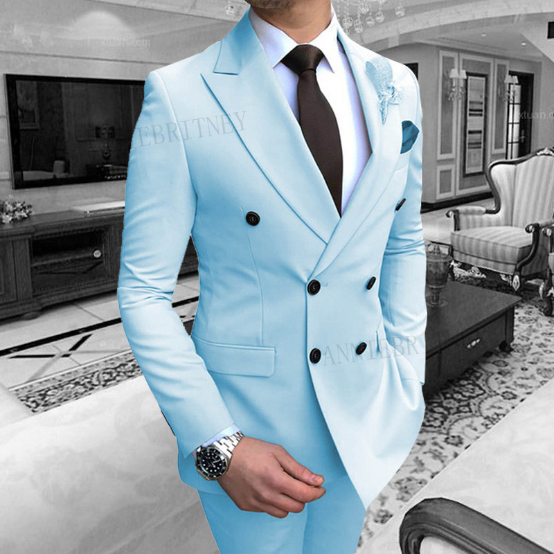 ANNIEBRITNEY Sky Blue Suit Men Formal Slim Fit Groom Tuxedo For Wedding Prom Party Dresses Male Classic Men's Suit Blazer Pants