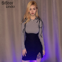 Sisterlinda Retro Wild Tops Sling Dress Two Piece Female Set