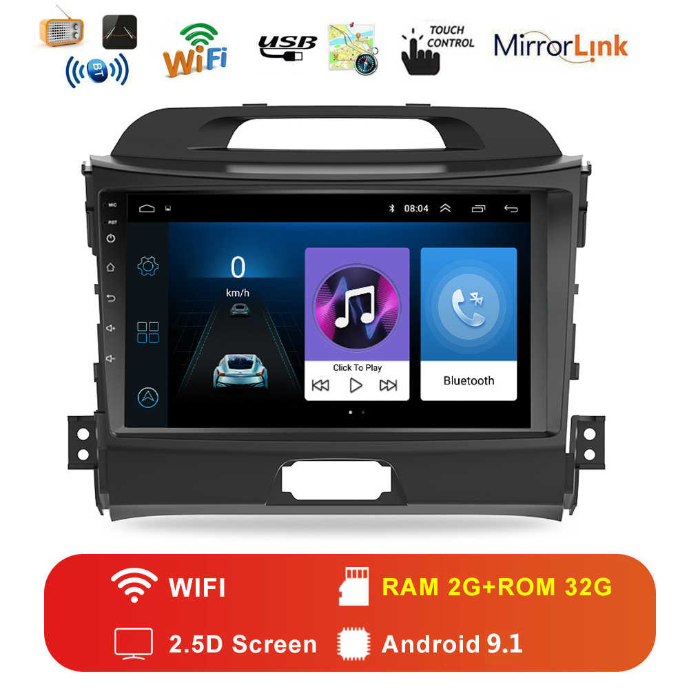 Car Android 9.1 2 din auto Radio multimedia player per KIA sportage 2010 2011-2016 Unità di Testa di navigazione gps autoradio video