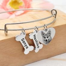 Name Bracelet Bangle Custom Personalized Gift Dog Dog-Lover Pet-Portrait Adjustable